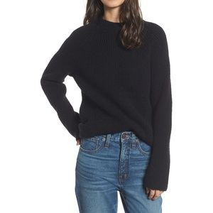 Madewell Black Ribbed Mock Neck Sweater